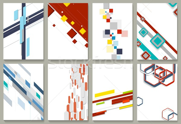 Abstract minimal geometric backgrounds set Stock photo © saicle