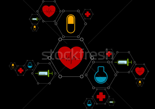 Abstract gezondheid vector medische iconen tech Stockfoto © saicle
