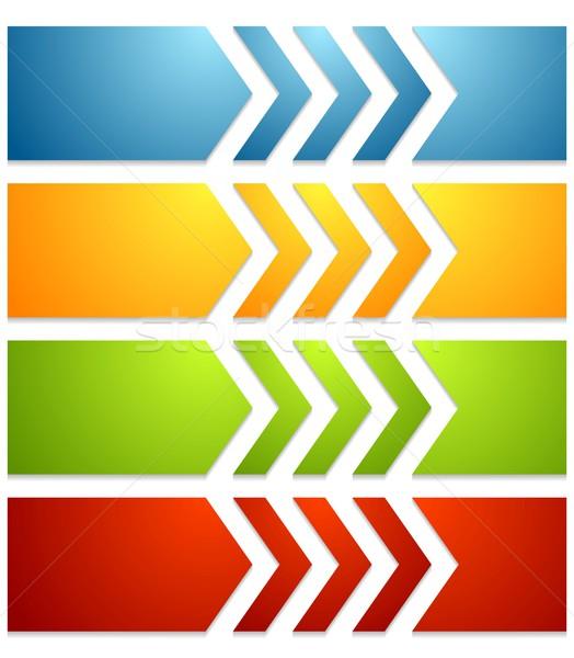 Heldere tech web banners pijlen vector Stockfoto © saicle