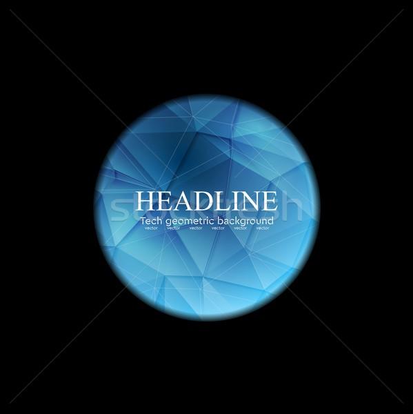 Blue polygonal round sphere on black background Stock photo © saicle
