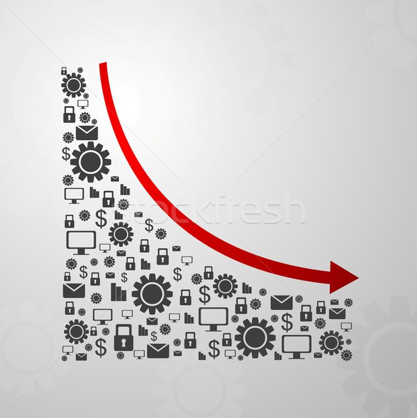 Abstract decline graph arrow with communication icons Stock photo © saicle