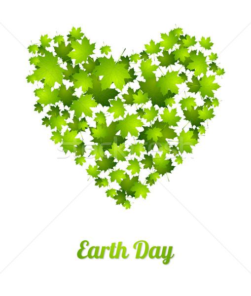 Dia da terra ecologia folhas verdes vetor verde abstrato Foto stock © saicle