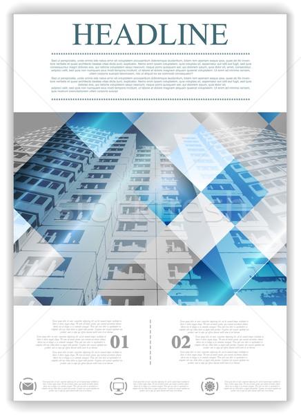 Abstract geometric flyer template layout with skyscraper Stock photo © saicle