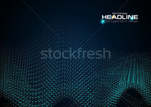Shiny abstract futuristic hi-tech dotted line waves Stock photo © saicle