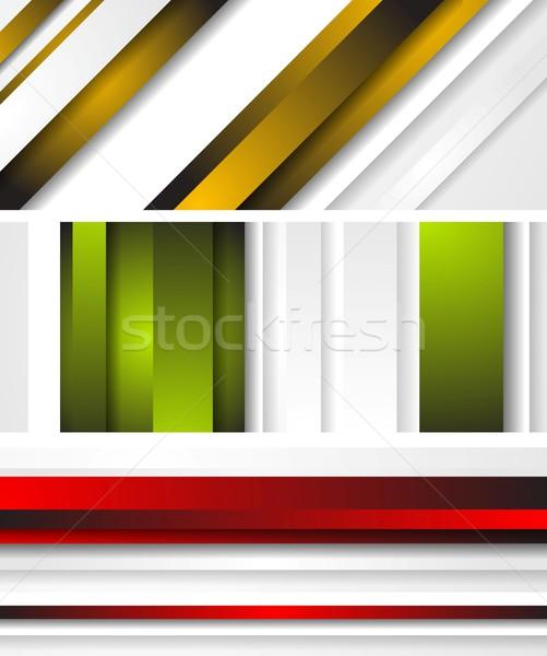 Foto stock: Brilhante · abstrato · banners · listrado · vetor · cor