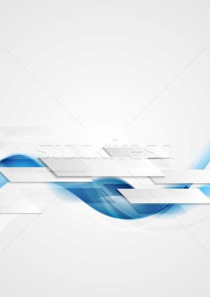 Blue shiny hi-tech motion waves background Stock photo © saicle