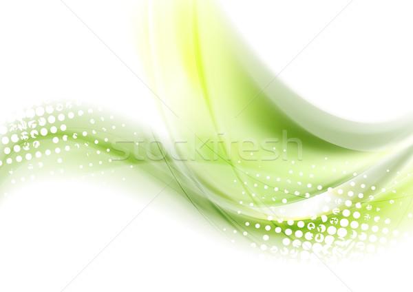 Streszczenie zielone fale wektora błyszczący grafiki Zdjęcia stock © saicle