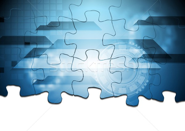Puzzle vector corporativ tehnologie proiect fundal Imagine de stoc © saicle