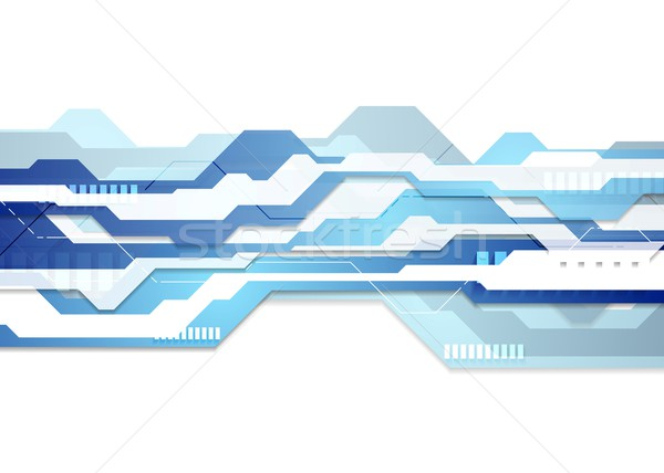 Blue and white tech geometric flyer background Stock photo © saicle