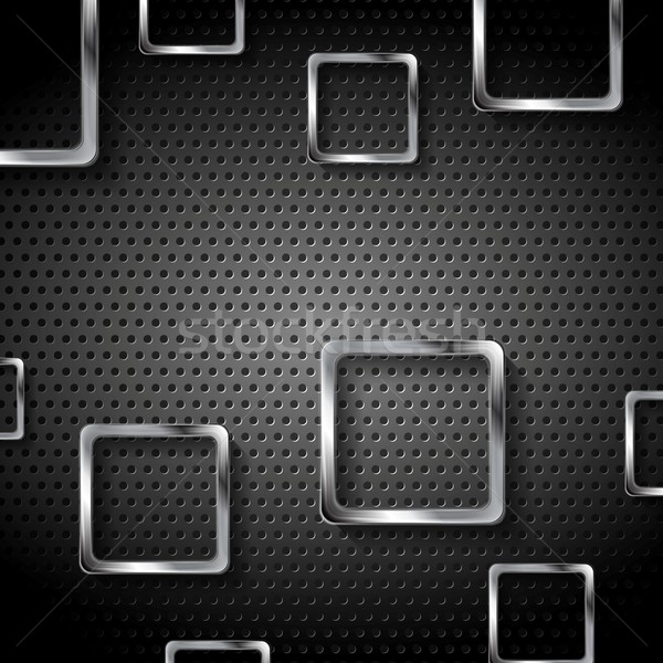 Abstract metal perforated background with squares Stock photo © saicle