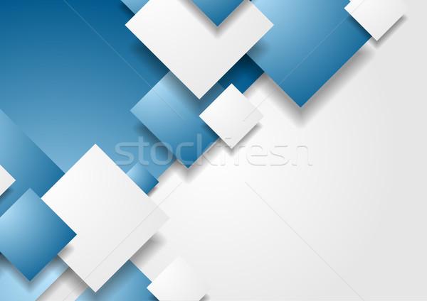 аннотация Tech геометрический вектора брошюра синий Сток-фото © saicle