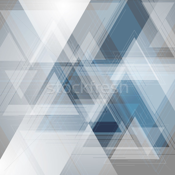 Blue and grey tech triangles background Stock photo © saicle