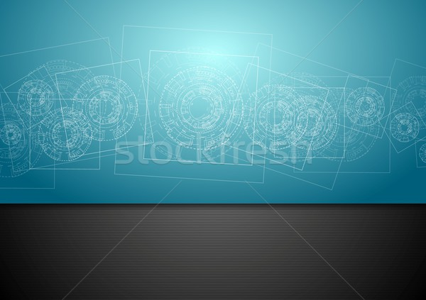 Abstract Blauw tech engineering vector ontwerp Stockfoto © saicle
