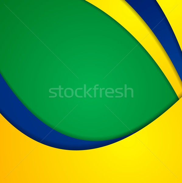 Corporate wavy bright abstract background. Brazilian colors Stock photo © saicle