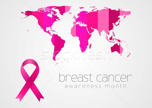 Breast cancer awareness pink ribbon and map Stock photo © saicle