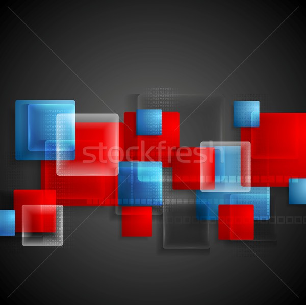 Transparent glass bright squares. Abstract tech geometry design Stock photo © saicle