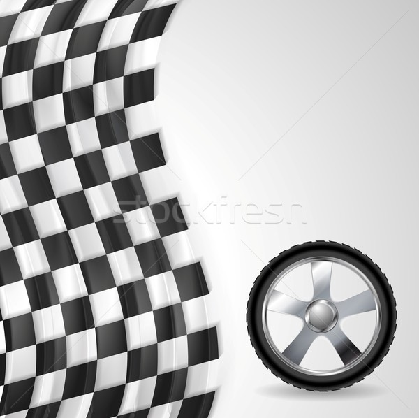 Sport background with wheel and finish flag Stock photo © saicle