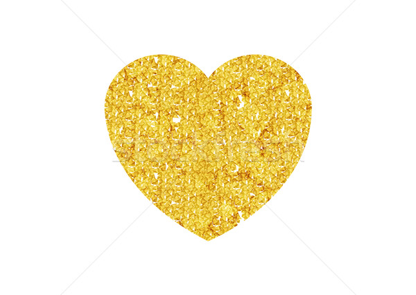 Gold Valentines heart sparkles on white background Stock photo © saicle