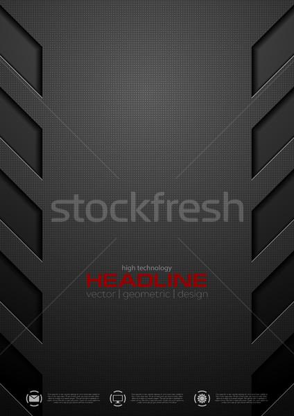 Negro resumen tecnología vector diseno textura Foto stock © saicle