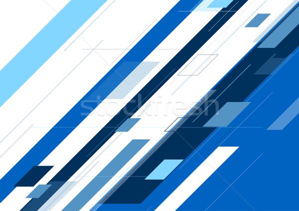 Niebieski streszczenie minimalny geometryczny tech grafiki Zdjęcia stock © saicle