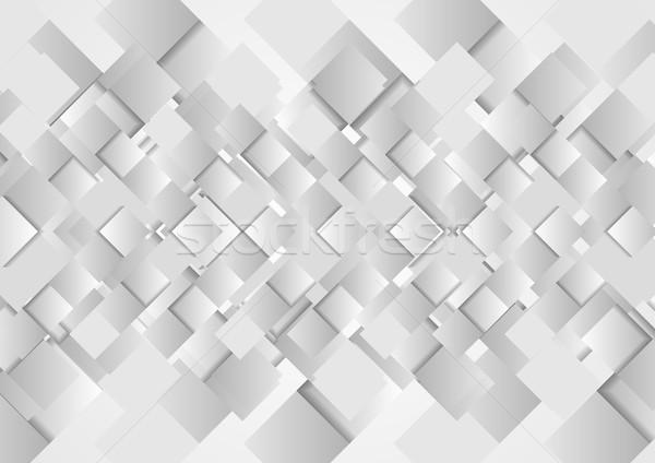 Mértani szürke négyzetek vektor terv absztrakt Stock fotó © saicle