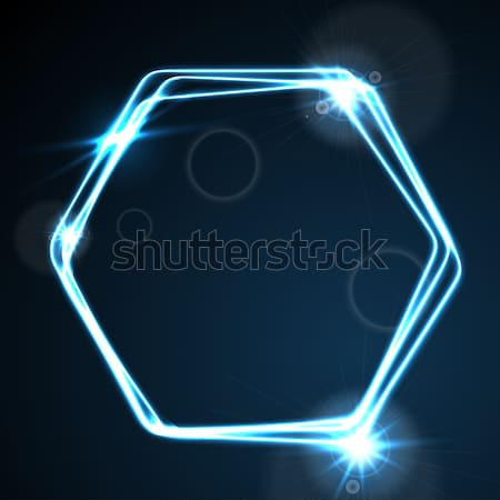 Gloed Blauw neon vector zeshoek Stockfoto © saicle