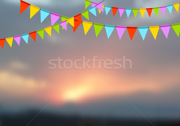 Stock photo: Party flags celebrate abstract background and sunset landscape