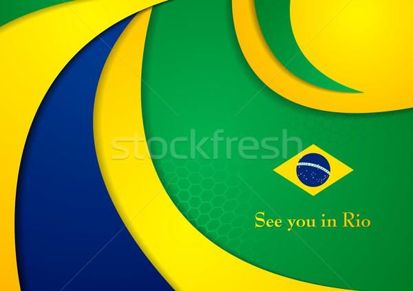 Brasil cores abstrato vetor corporativo ondulado Foto stock © saicle