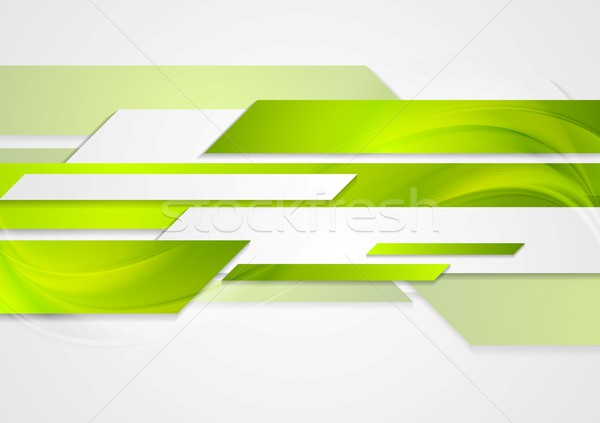 Abstract green tech wavy background Stock photo © saicle