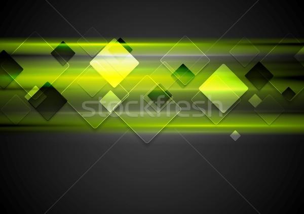 Dark green glowing tech background Stock photo © saicle