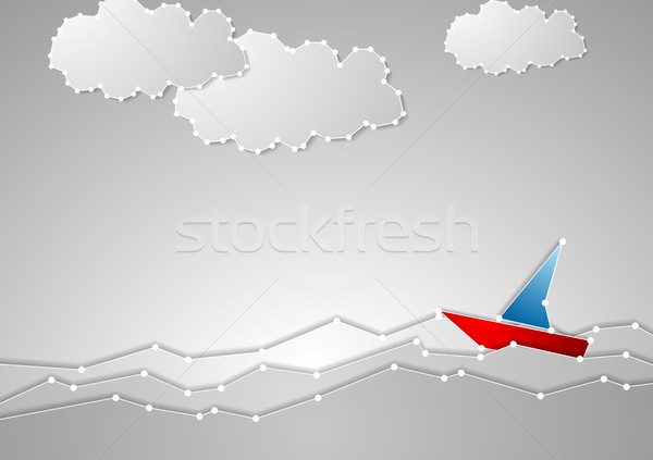 Bright sailboat on grey seascape. Tech schematic style Stock photo © saicle