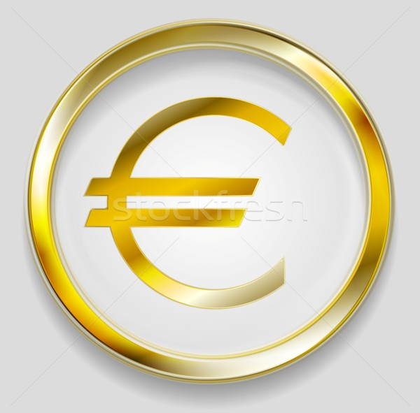Concept golden euro symbol logo button Stock photo © saicle