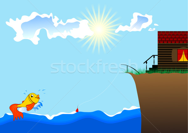 small fish, the sea and house ashore Stock photo © saicle