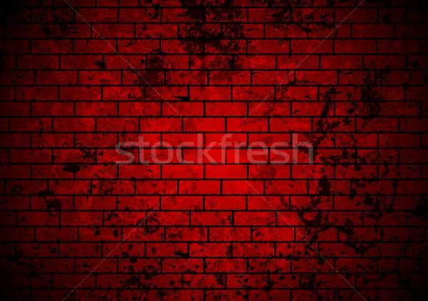 dark red grunge brick wall background vector illustration