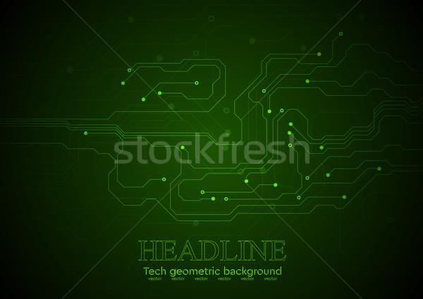 Buio verde tecnologia circuito vettore abstract Foto d'archivio © saicle