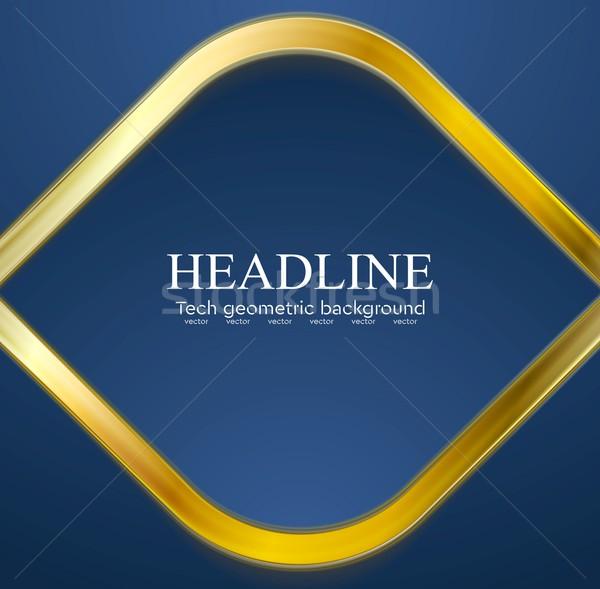 Golden metal rhombus shape on blue background Stock photo © saicle