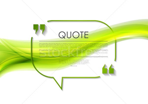Citare fumetto abstract ondulato design verde Foto d'archivio © saicle