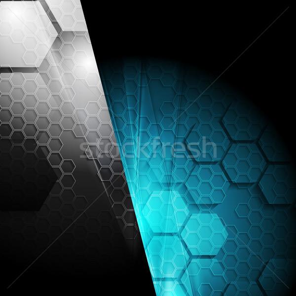 Ciemne kontrast tech geometryczny czarny niebieski Zdjęcia stock © saicle