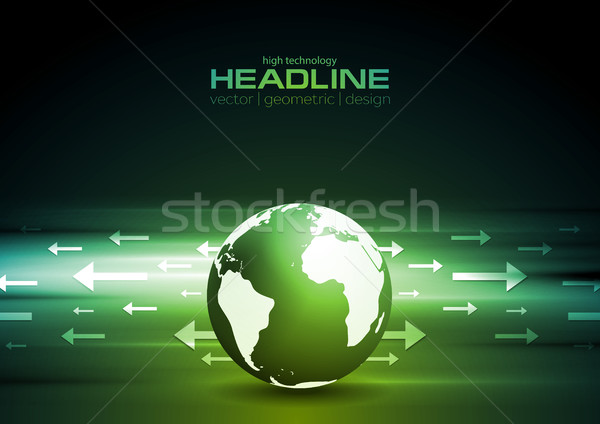Dark green technology background with globe and arrows Stock photo © saicle