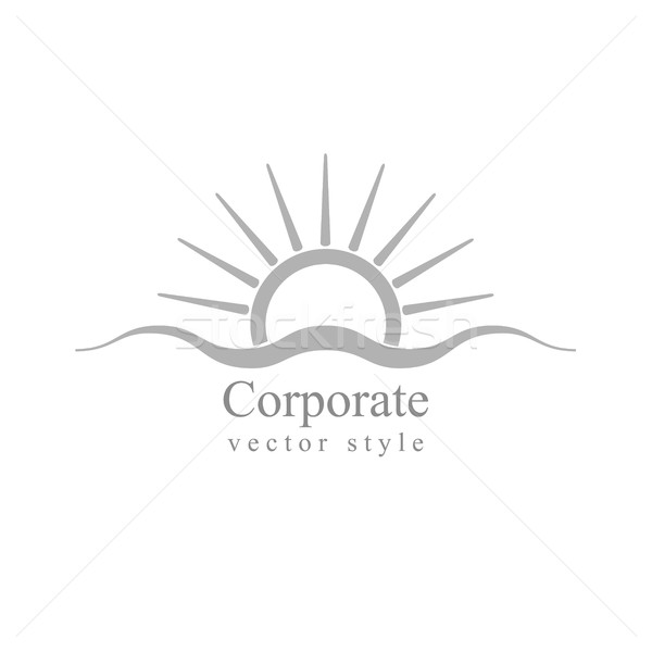 Grey schematic logo. Sun and sea wave Stock photo © saicle