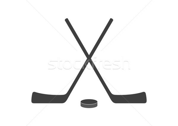 Hockey sticks and puck grey minimal logo design Stock photo © saicle