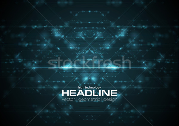 Abstract blue shiny cyberspace tech background Stock photo © saicle