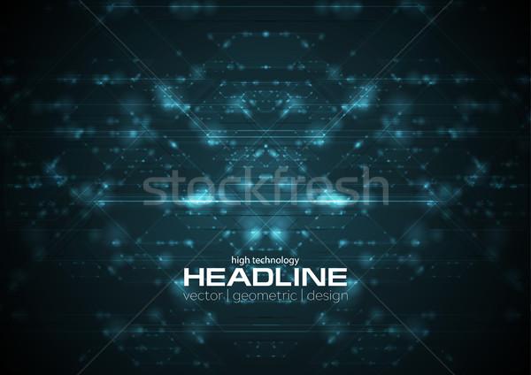 Abstract blu lucido cyberspazio tech vettore Foto d'archivio © saicle