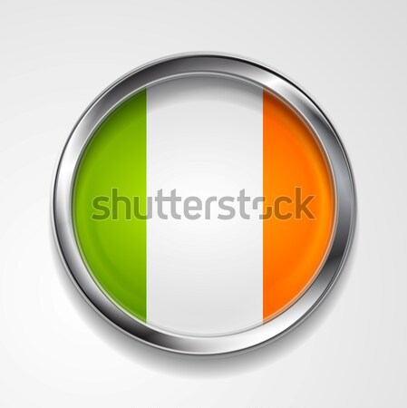 Abstract button with stylish metallic frame. Irish flag Stock photo © saicle