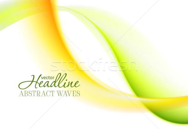 Abstract bright green yellow soft waves Stock photo © saicle