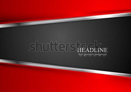 Foto stock: Macio · vermelho · ondas · metal · vetor · tecnologia