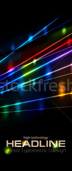 Retro neon glowing colorful laser beams vector flyer cover Stock photo © saicle