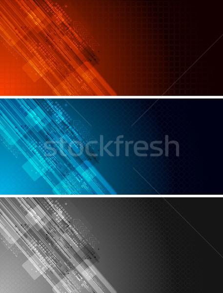 Tecnologia banners conjunto três escuro técnico Foto stock © saicle