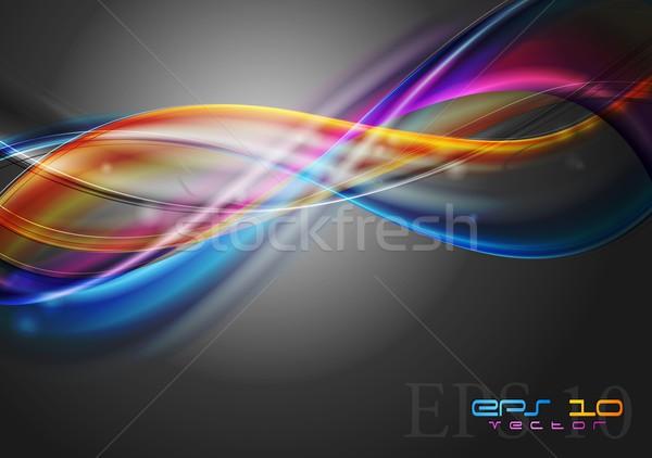 ストックフォト: ベクトル · 波 · 抽象的な · カラフル · 暗い