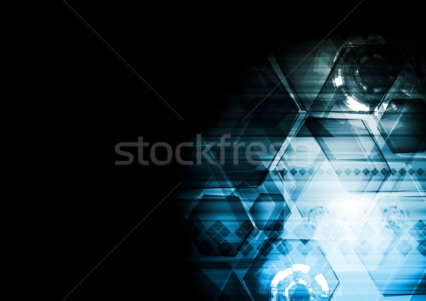 Dark blue technology vector background Stock photo © saicle